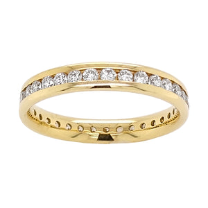 18ct Yellow Gold Channel Set Full Diamond Eternity Ring