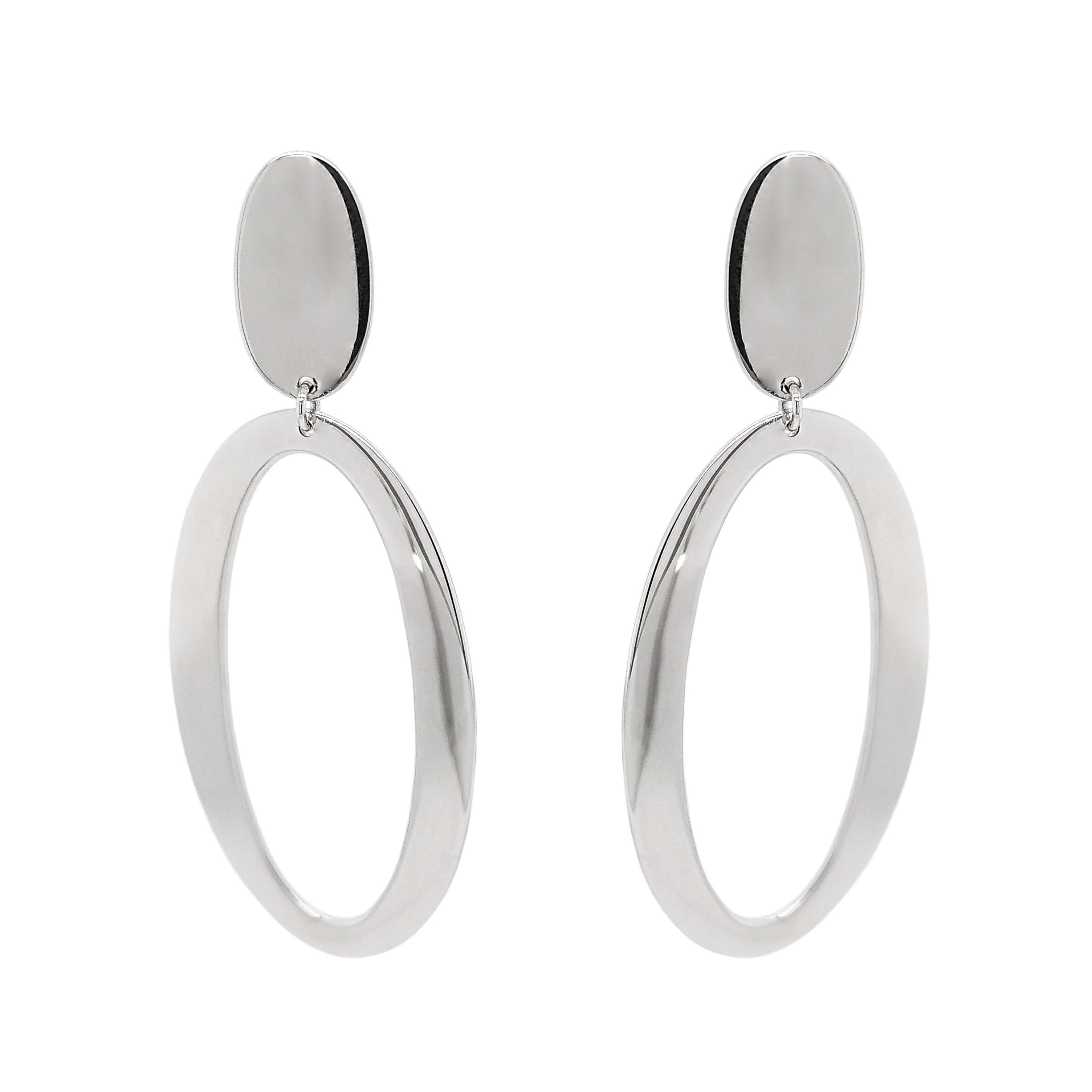 Silver Large Articulated Oval Drop Earrings
