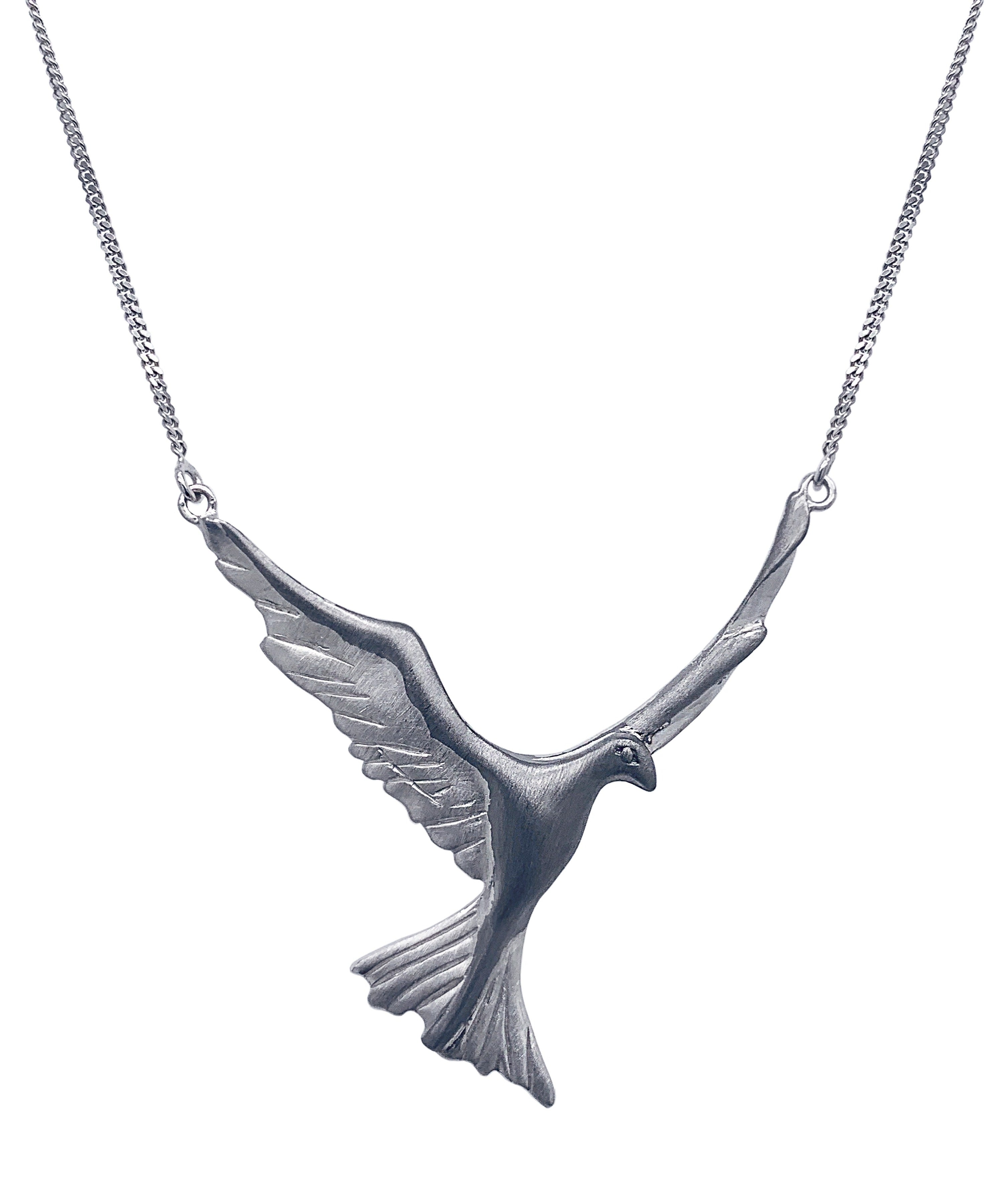 Silver Ruthenium Bird Necklace