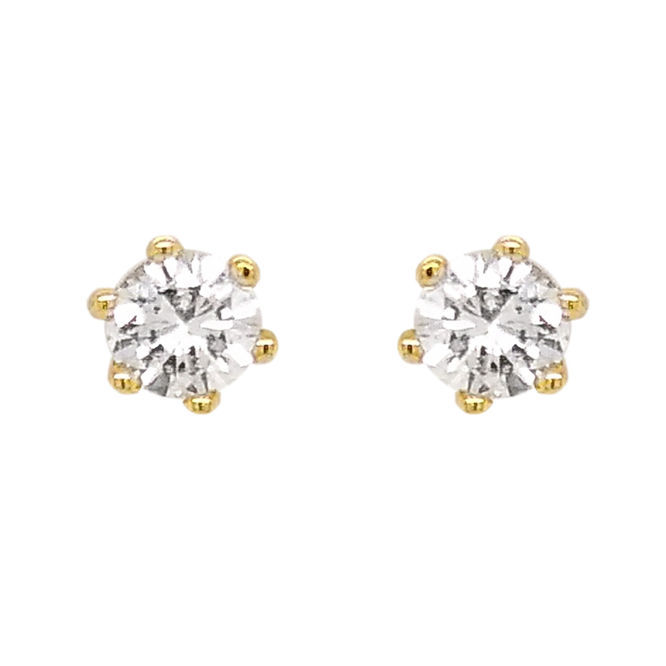 18ct Yellow Gold Six Claw Diamond Stud Earrings