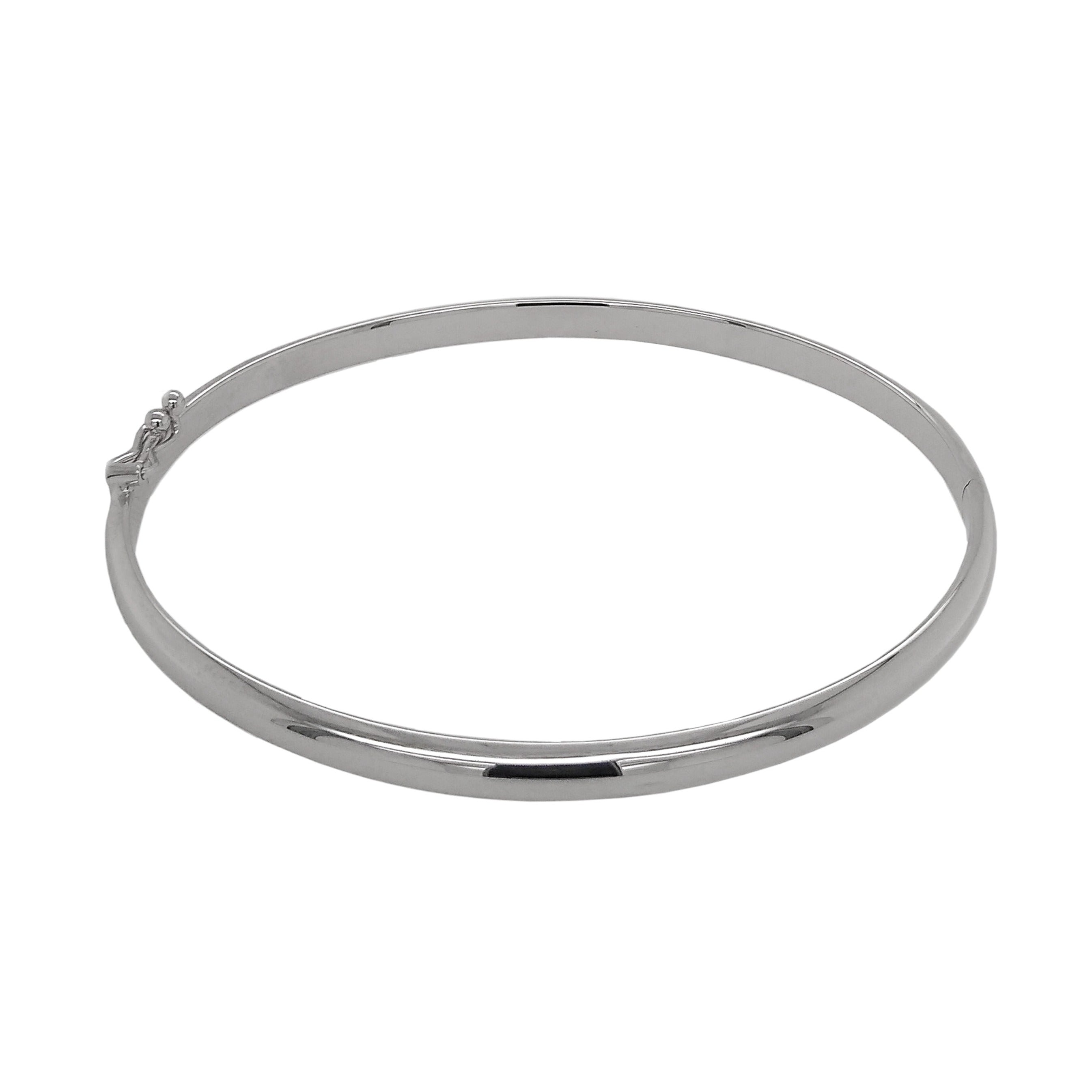 9ct White Gold D-Shaped Hinged Bangle