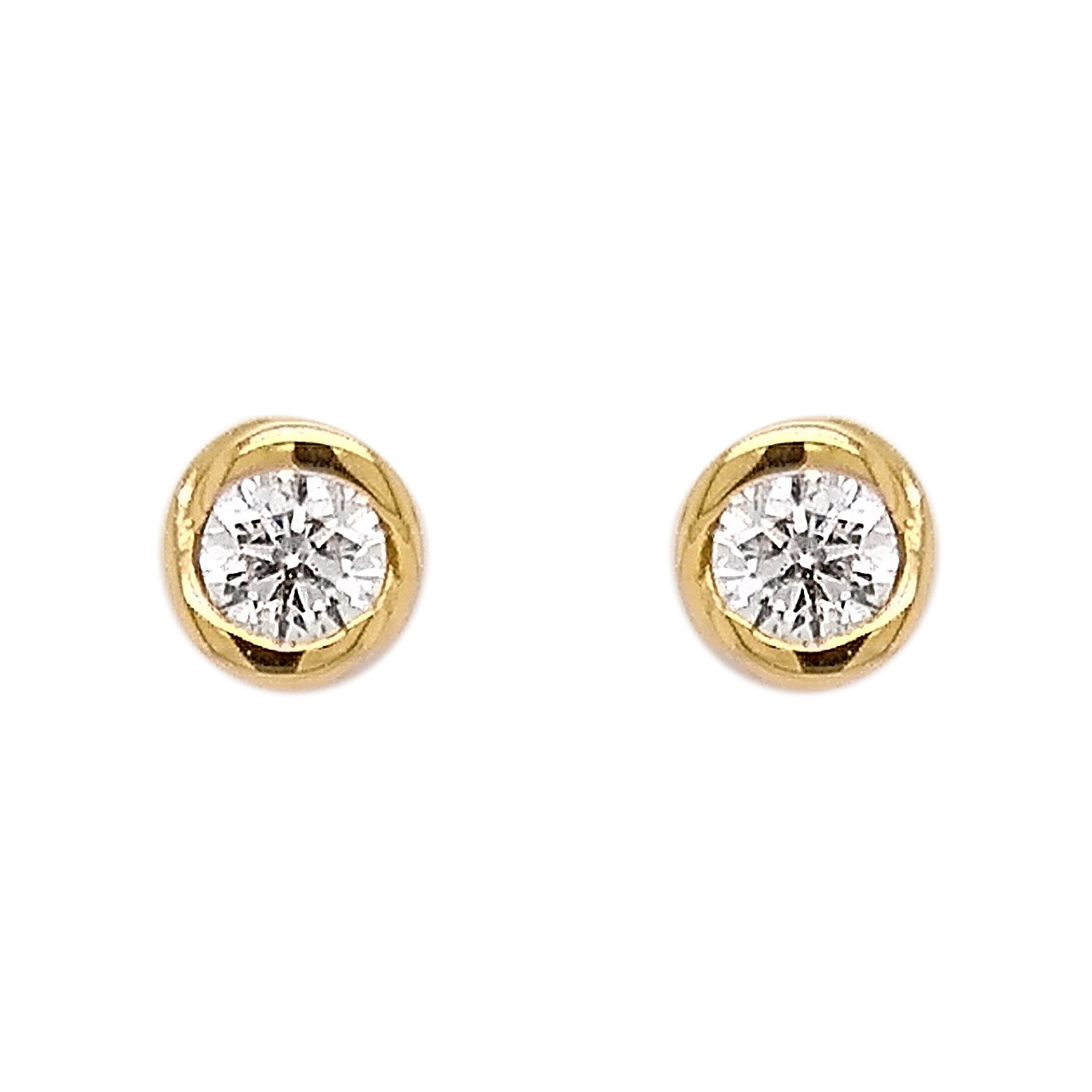 18ct Yellow Gold Diamond Rosebud Stud Earrings