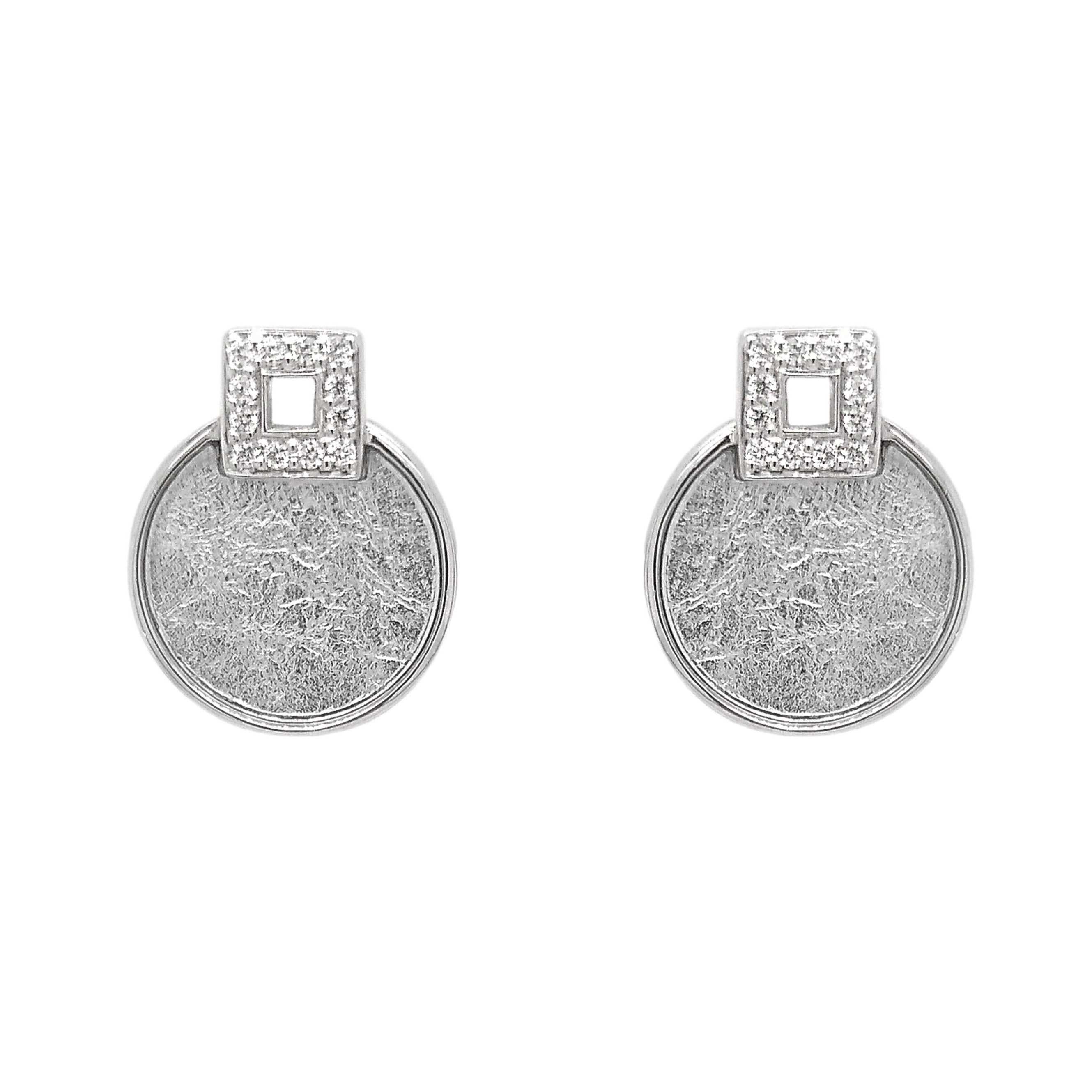 Silver Round Textured Sheet & CZ Earrings