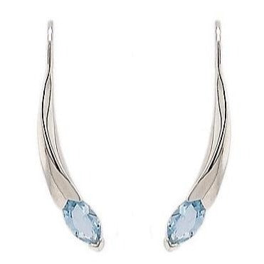 Silver Marquise Blue Topaz Curved Bar Earrings