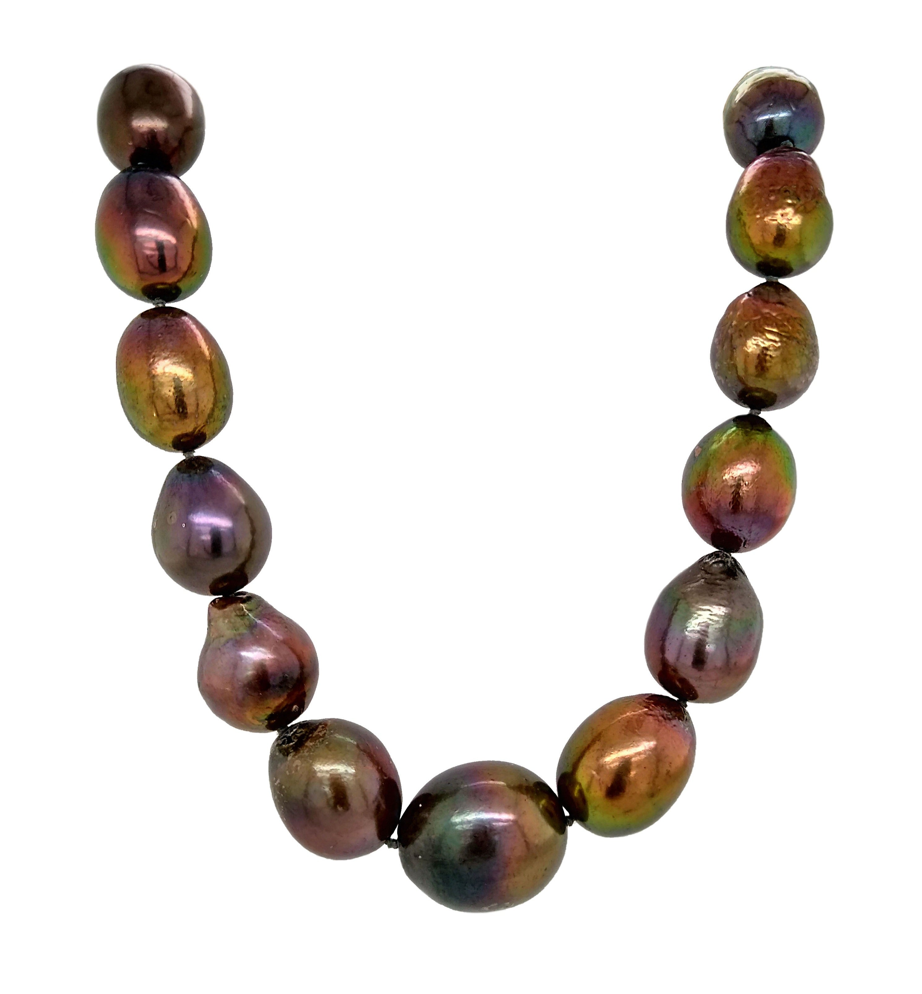 Silver with Yellow Gold Plating, Freshwater Cultured Black Graduated Baroque Pearl Necklace