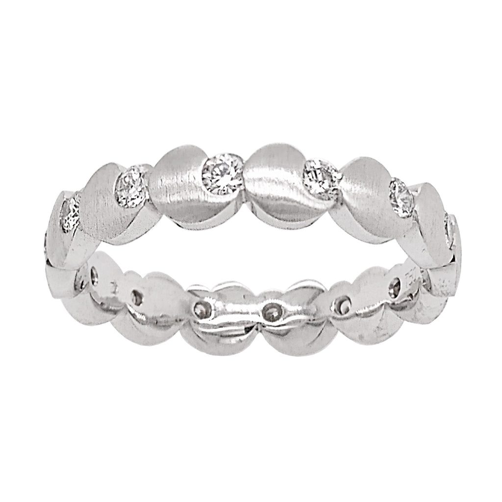 18ct White Gold Satin Diamond Full Eternity Ring