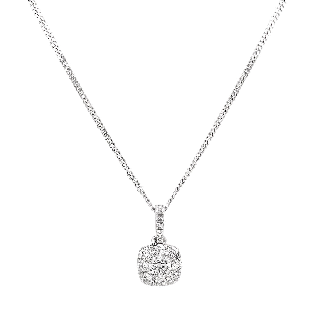 18ct White Gold Pave Diamond Soft Square Pendant & Chain