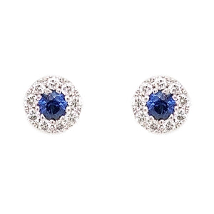 18ct White Gold Sapphire & Diamond Stud Earrings