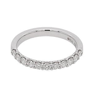 18ct White Gold Diamond Claw Set Half Eternity Ring