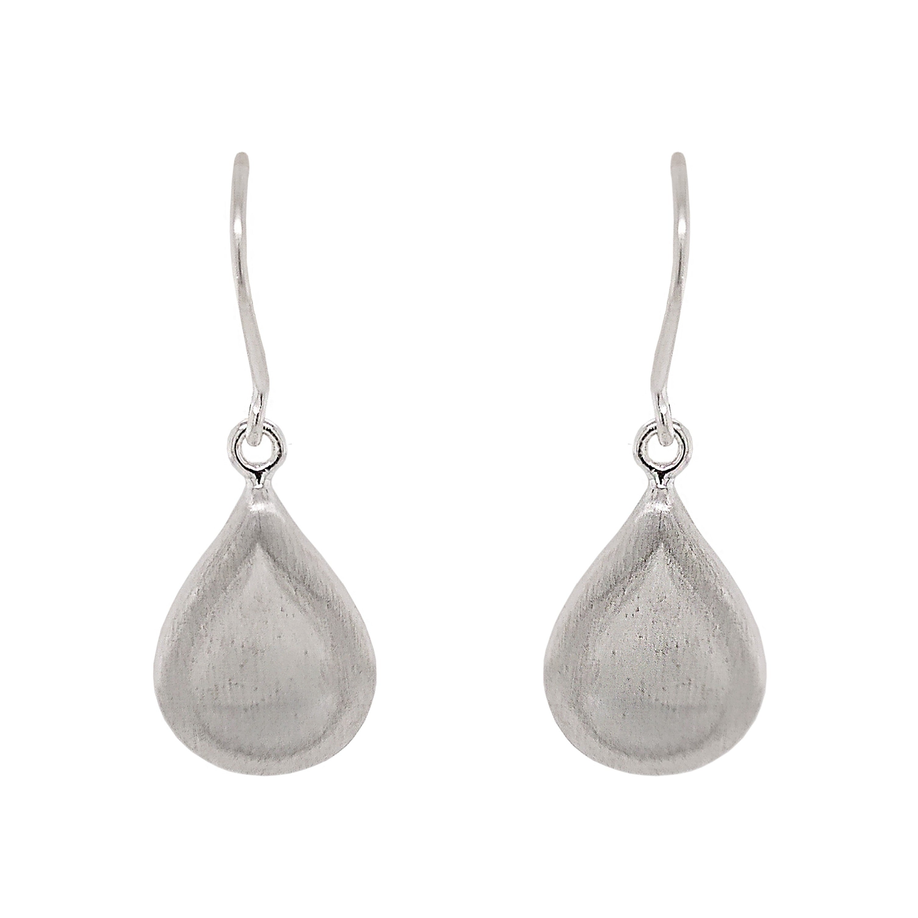 Silver Concave Teardrop Earrings