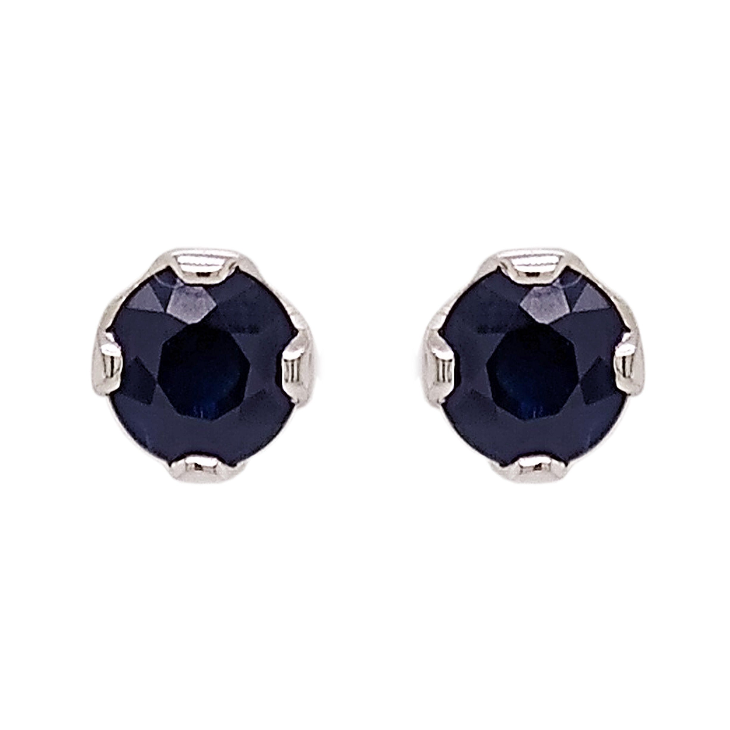 18ct White Gold Sapphire Lotus Stud Earrings