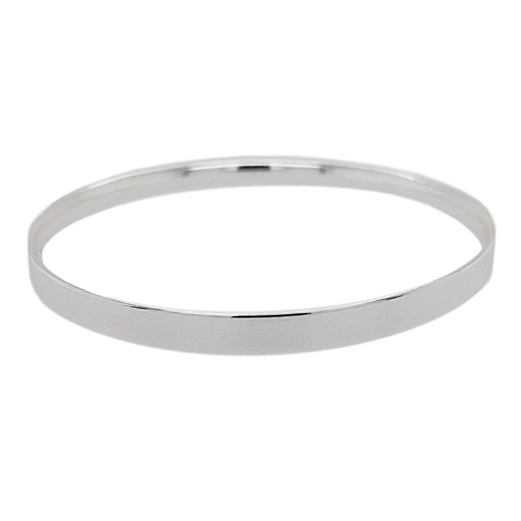Silver Flat Court Shape Bangle
