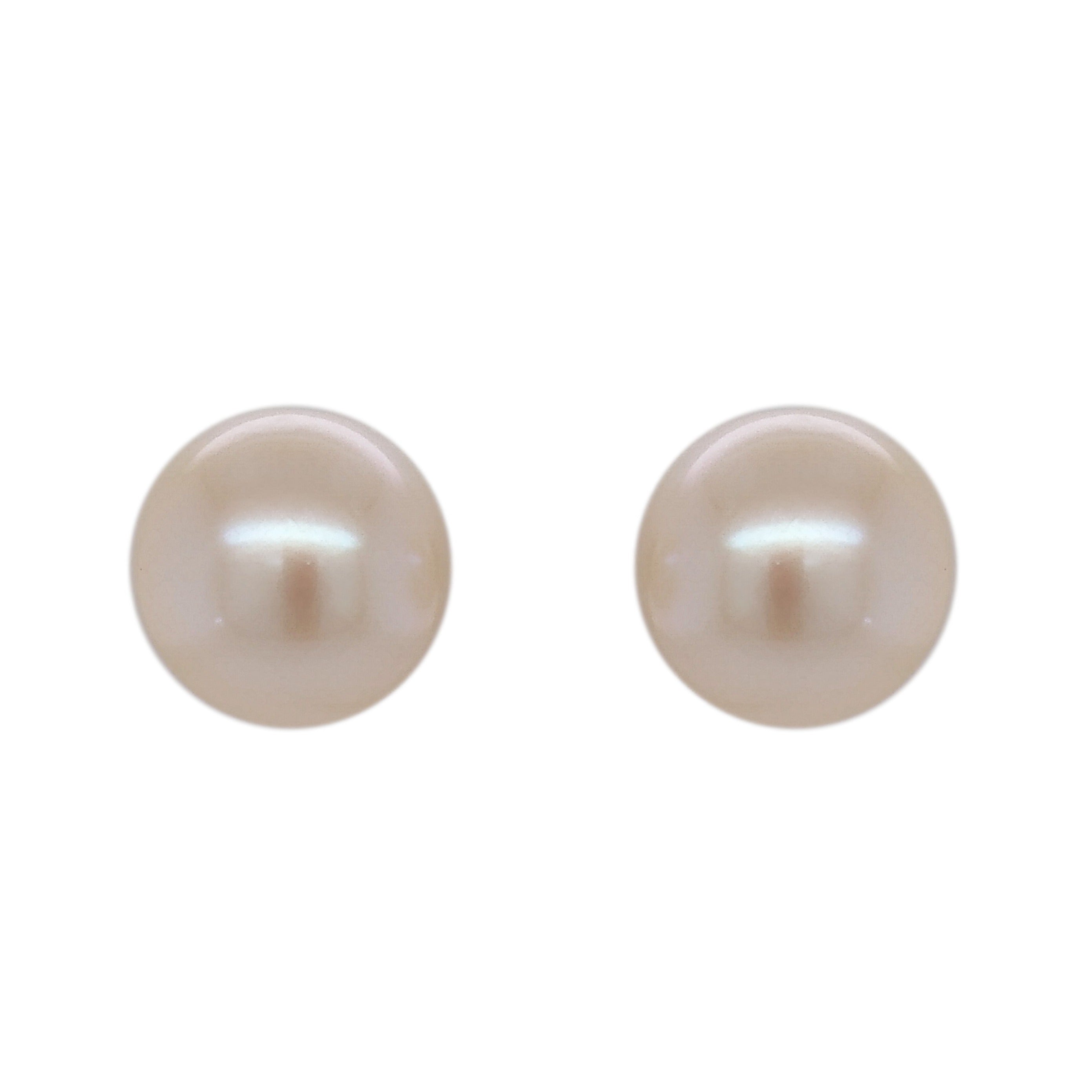 9ct White Gold Freshwater 11/11.5mm Bouton Pearl Stud Earrings