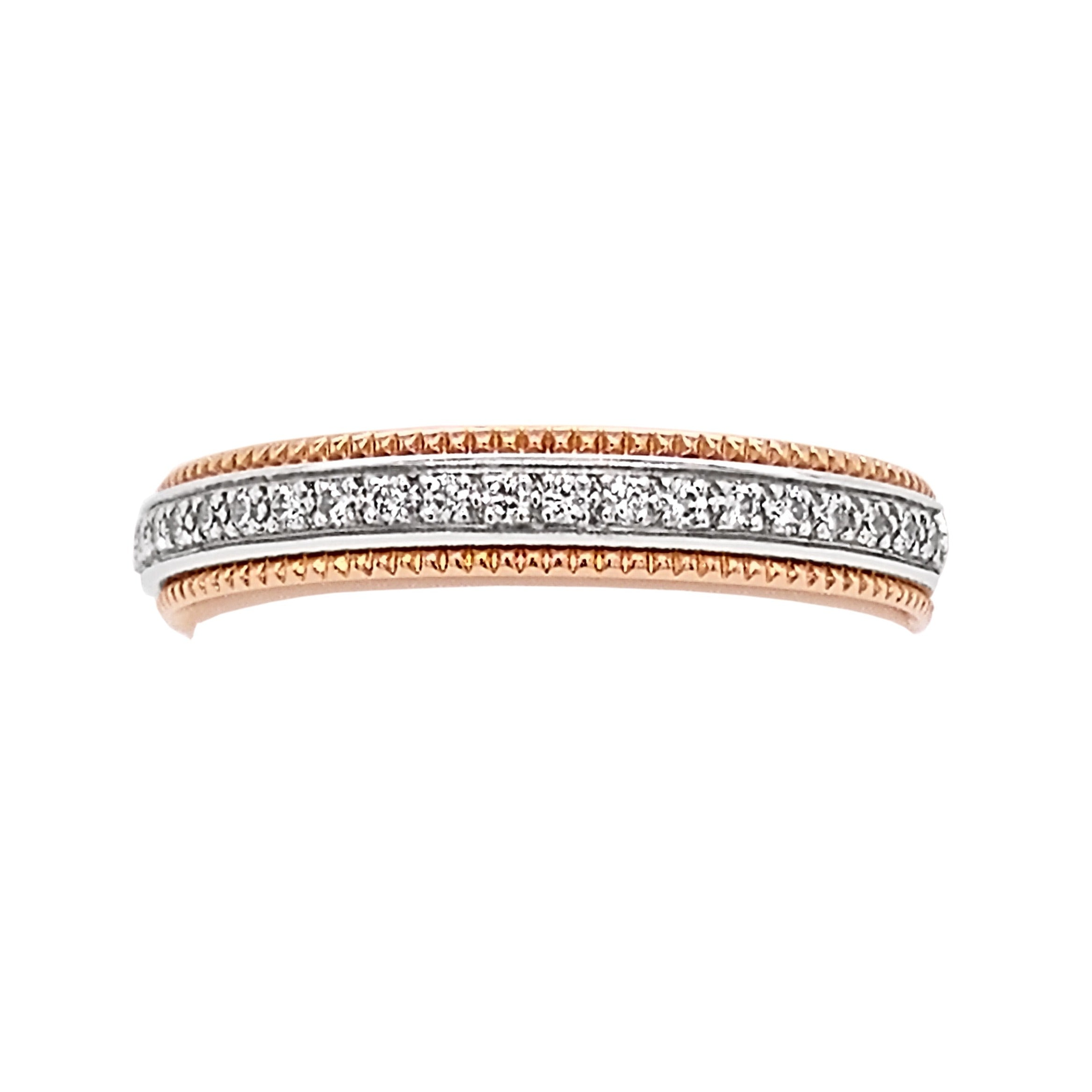 18ct Rose Gold & Platinum Pave Set Diamond Millgrain Half Eternity Ring