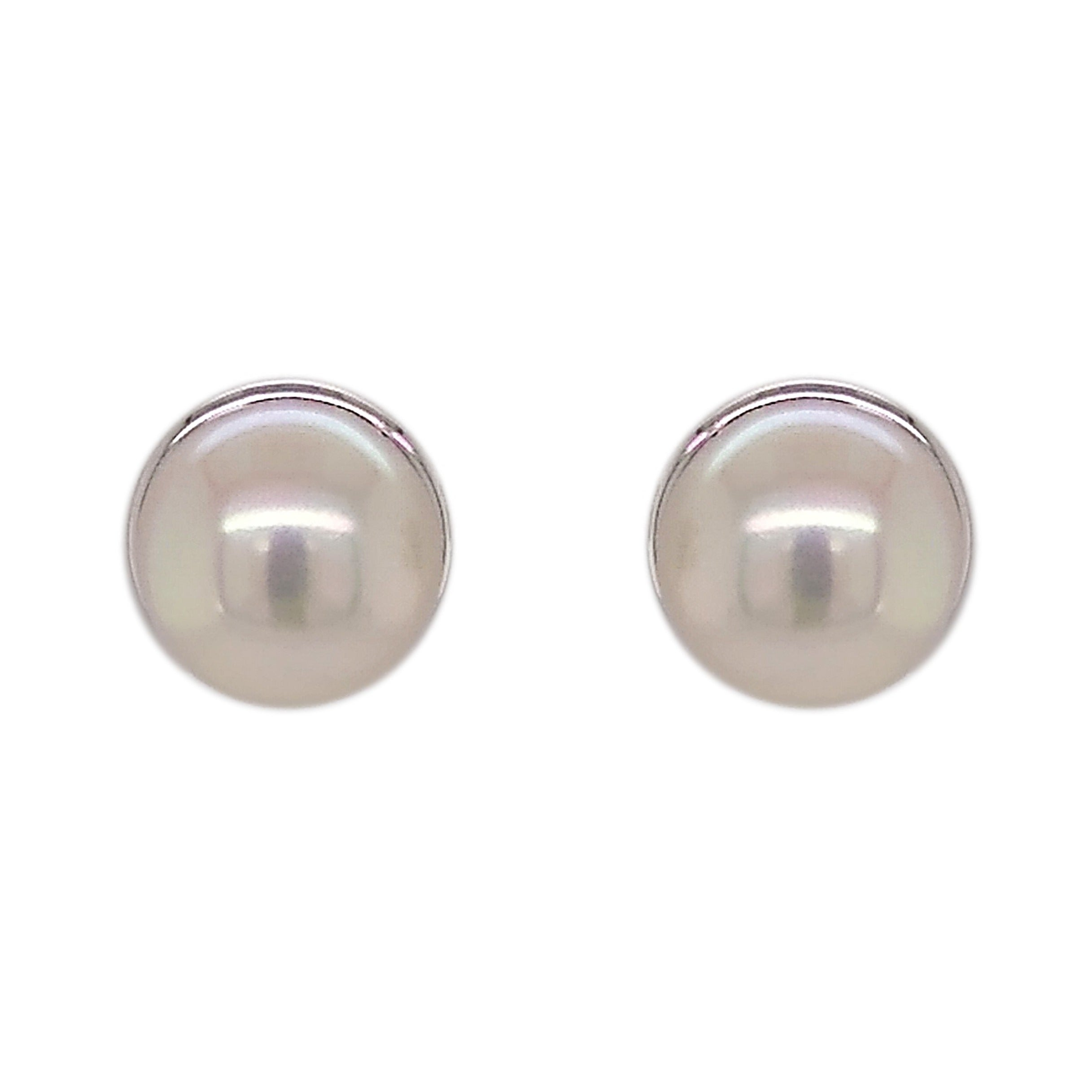 9ct White Gold Freshwater Bouton Pearl & Surround Stud Earrings