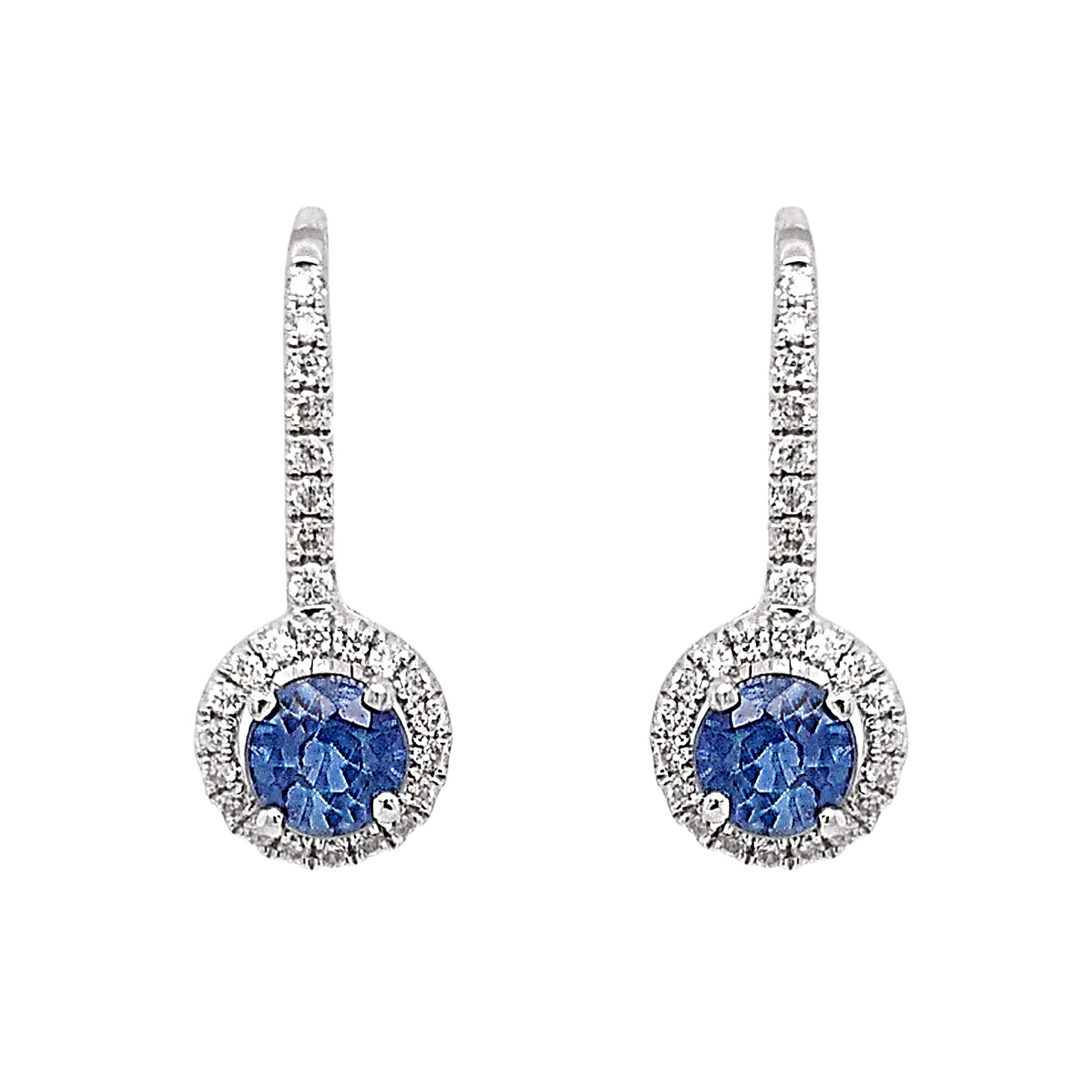 18ct White Gold Sapphire & Diamond Hinged Hoop Earrings