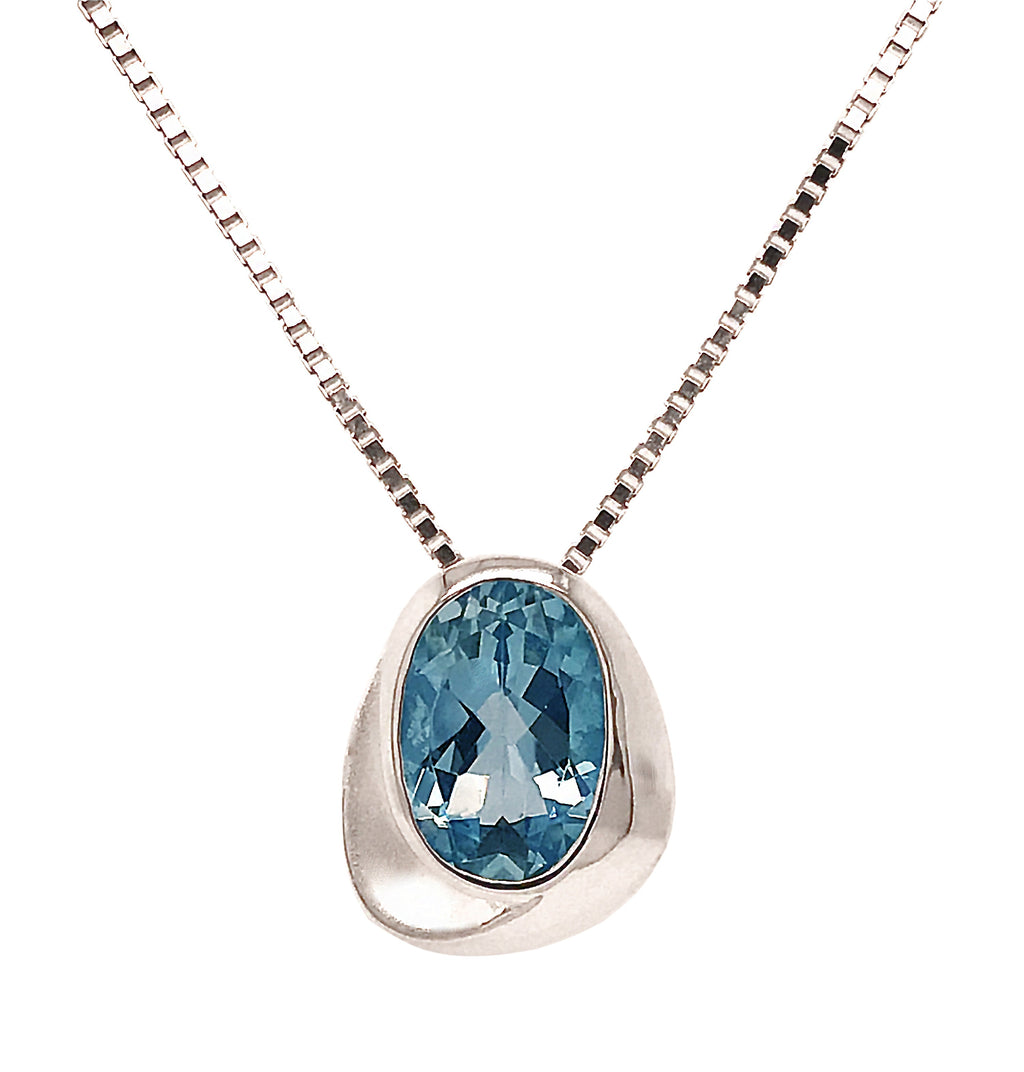 Silver Oval Blue Topaz Soft Sweep Triangle Pendant & Chain