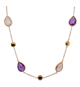 9ct Rose Gold Gemstone & Round Bead Necklace