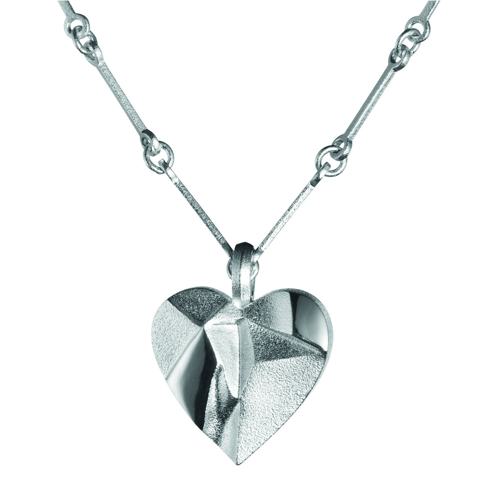 Silver My Foolish Heart Textured Necklace by Lapponia of Helsinki