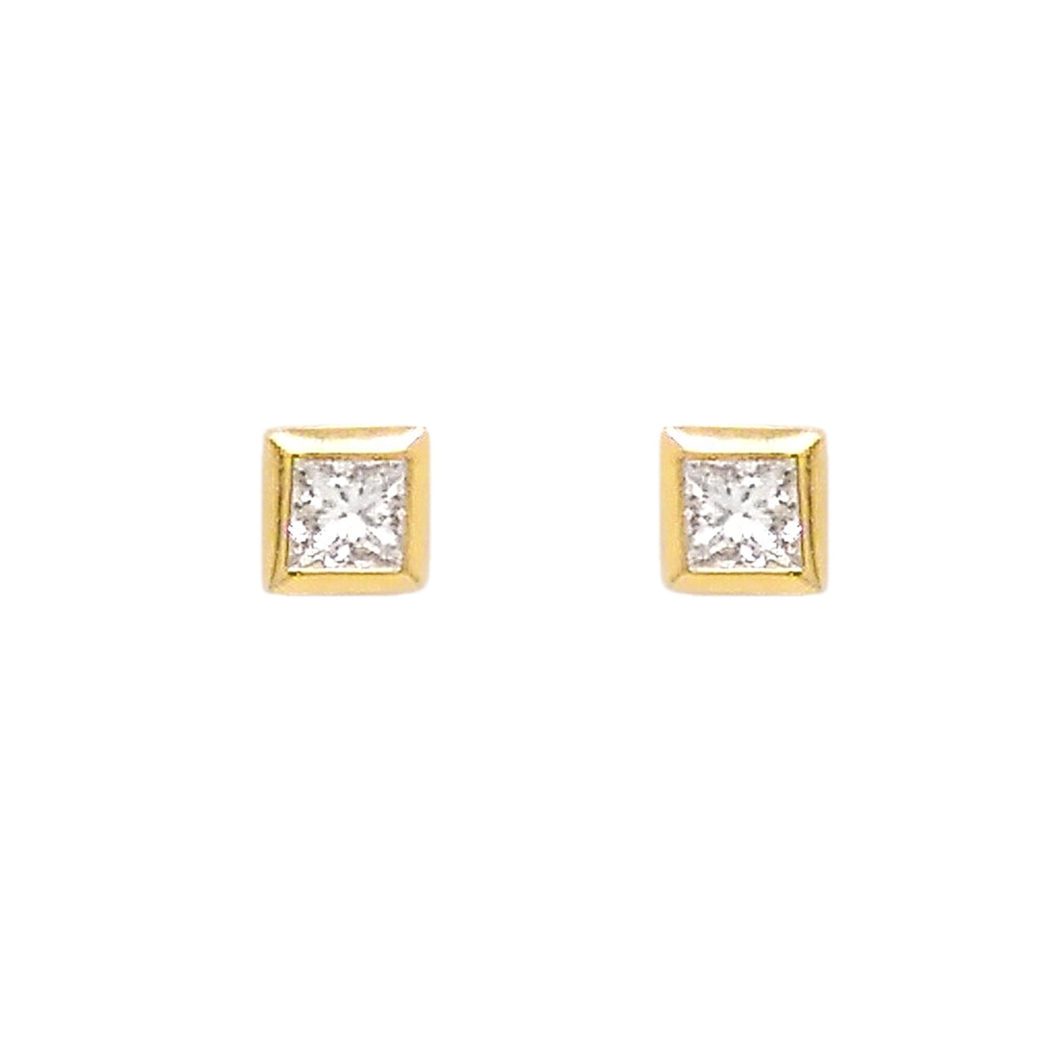 18ct Yellow Gold Princess Cut Square Stud Earrings