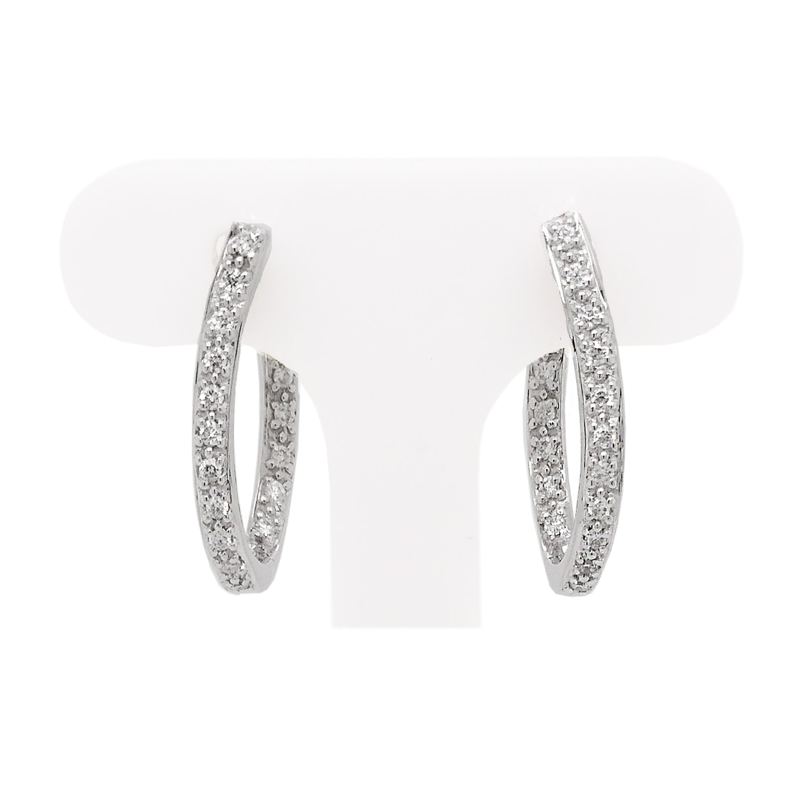 18ct White Gold Pave Diamond Shaped Hoop Earrings