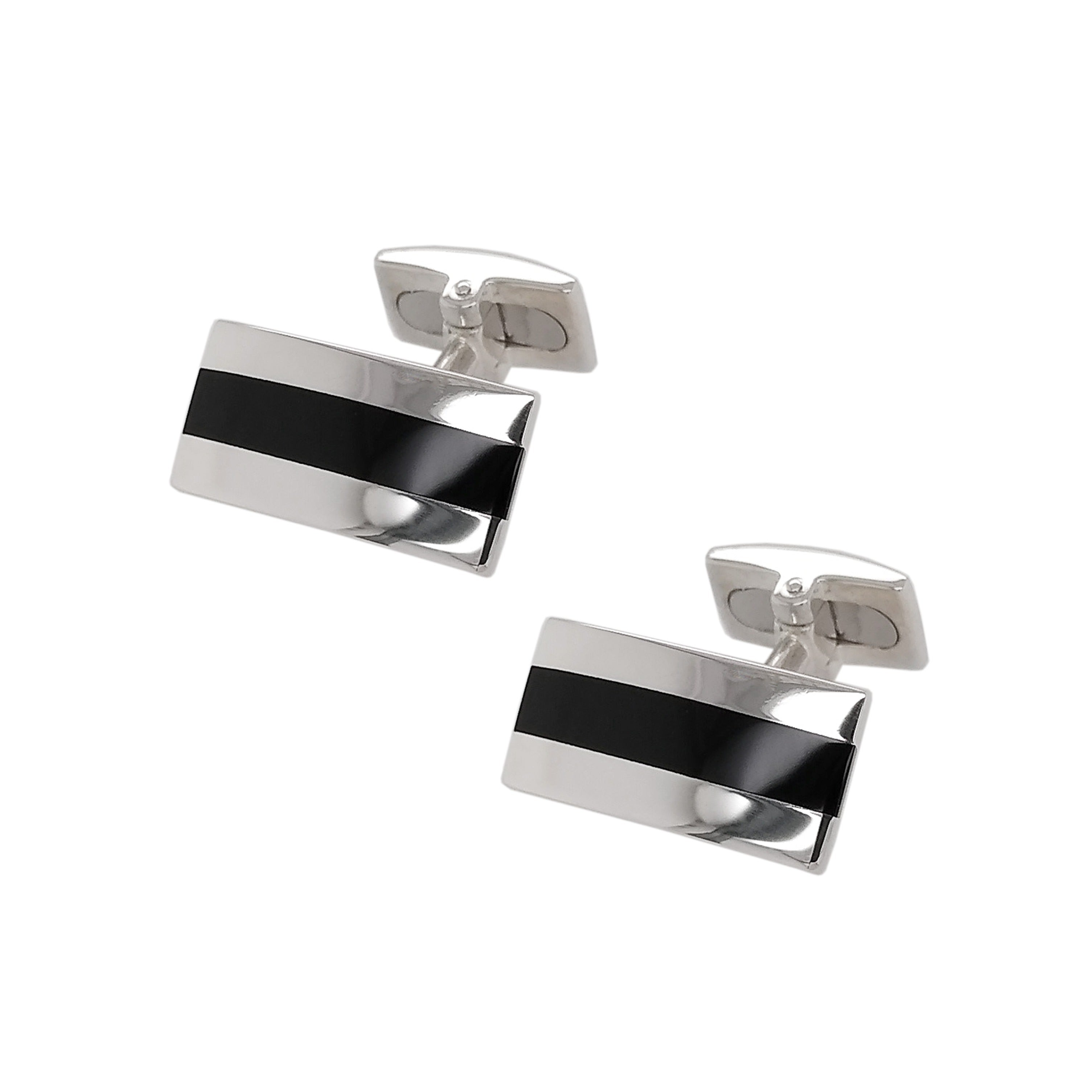 Silver & Black Onyx Line Detailed Cufflinks