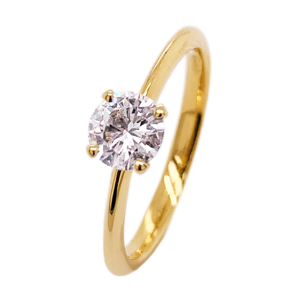 18ct Yellow Gold Round 4 Claw Diamond Ring