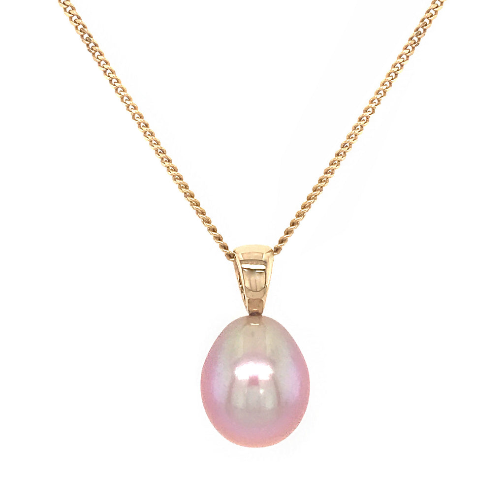 9ct Yellow Gold Natural Pink Freshwater Drop Pendant & Chain