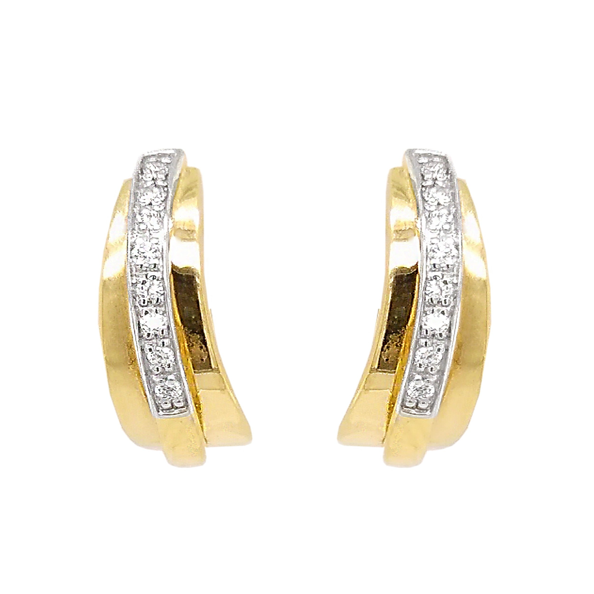 9ct Yellow Gold Tapered Diamond Hoop Earrings