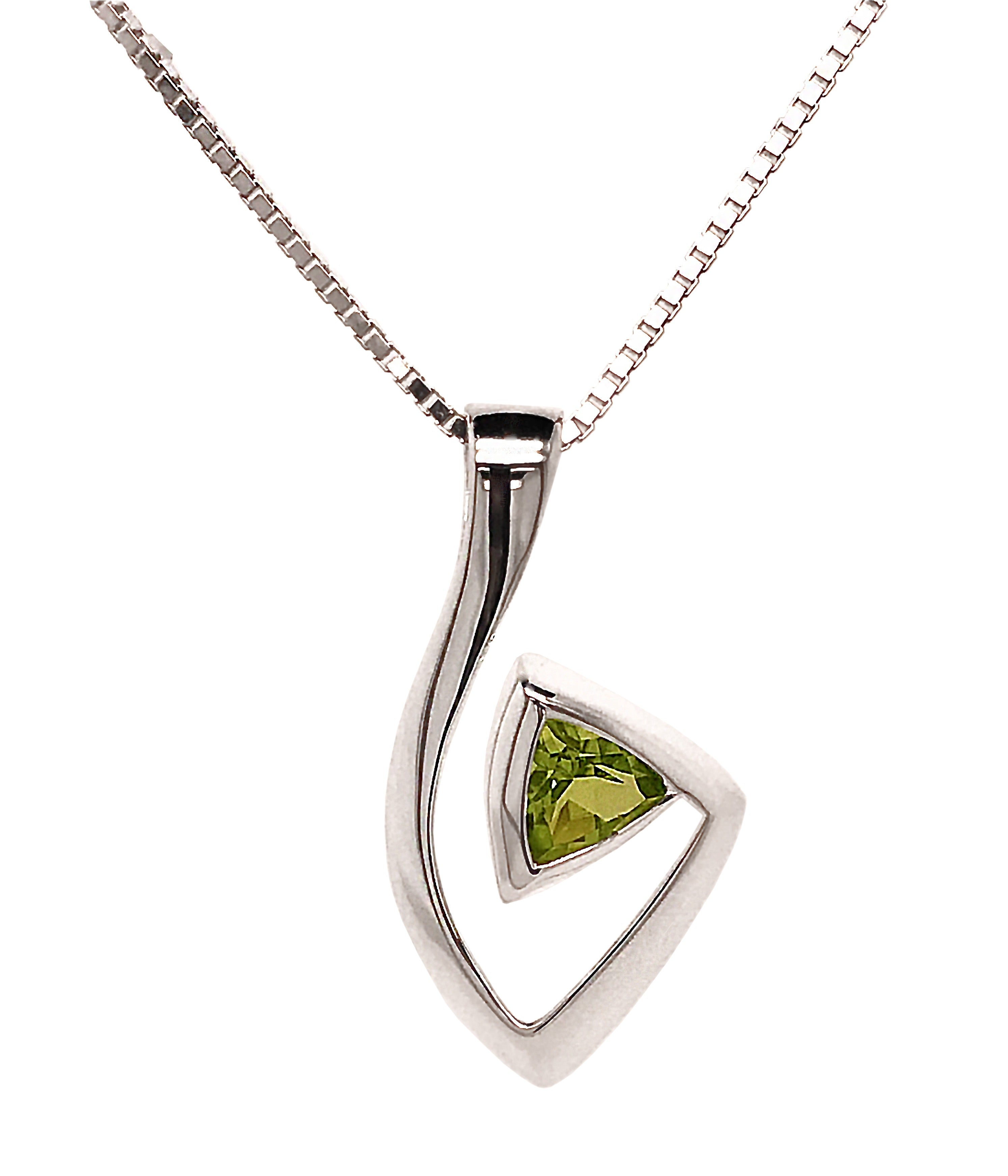Silver Trillion Peridot Abstract Pendant & Chain