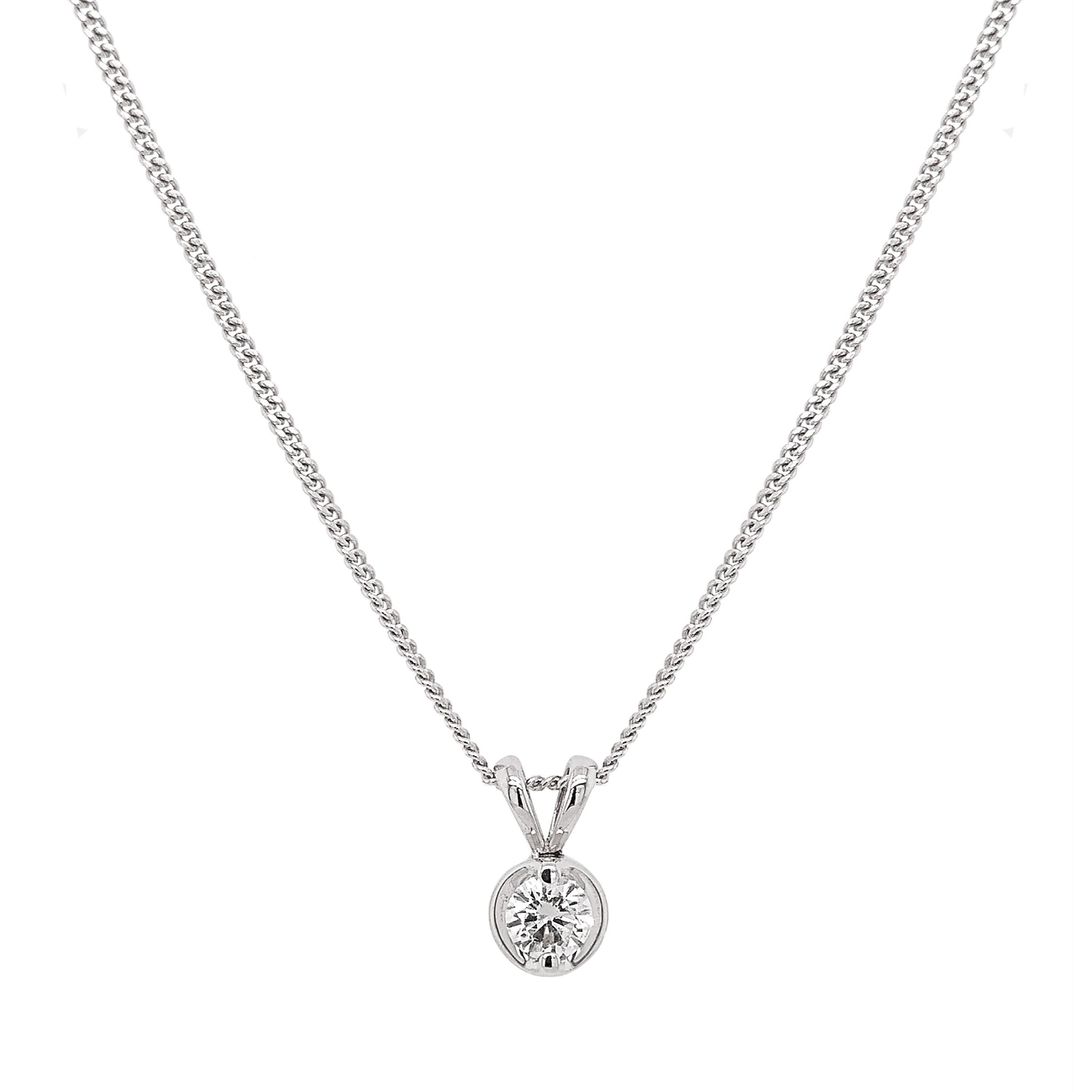 18ct White Gold Diamond Rosabella Pendant & Chain