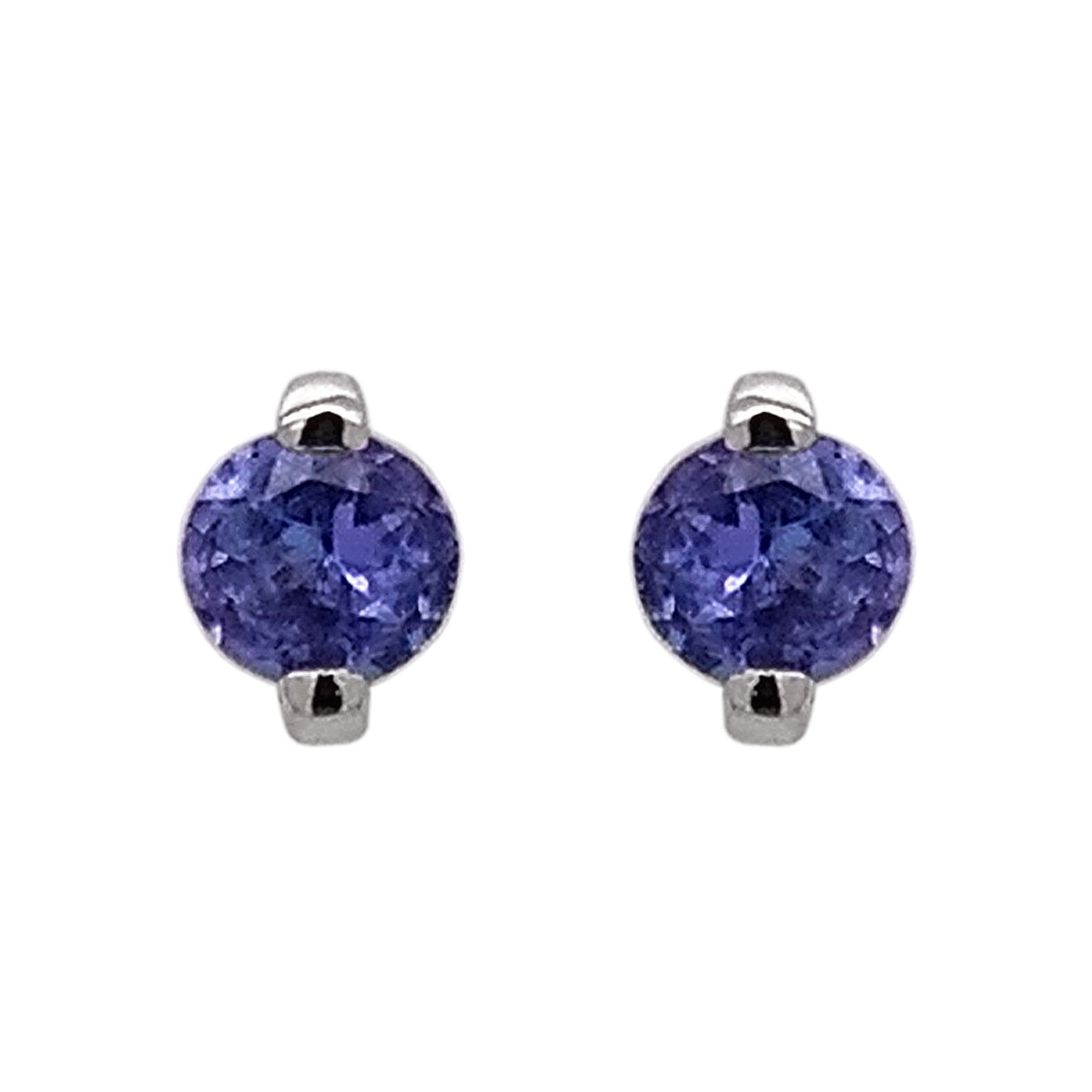 18ct White Gold Double Claw Tanzanite Earrings