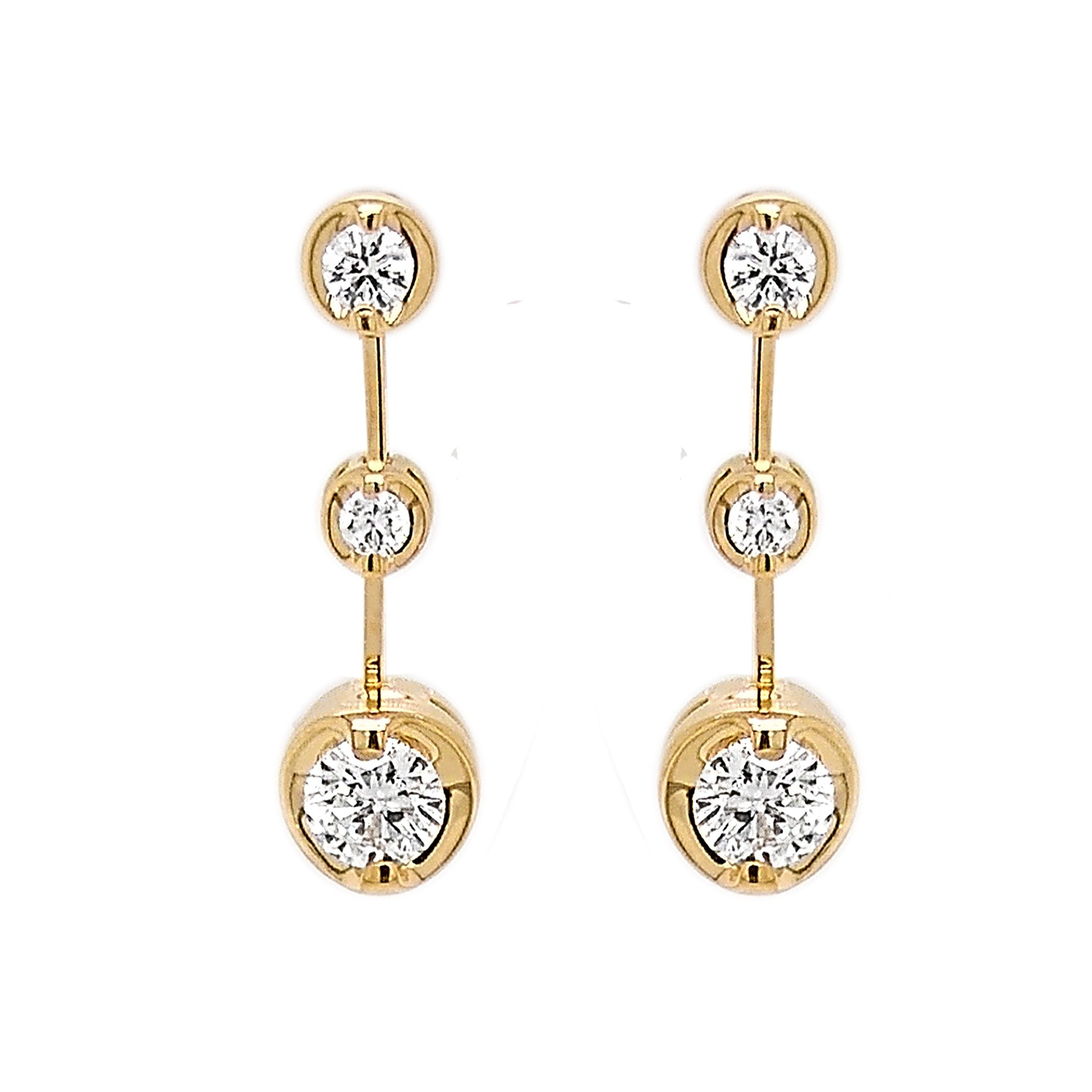 18ct Yellow Gold Diamond Rosabella Drop Earrings