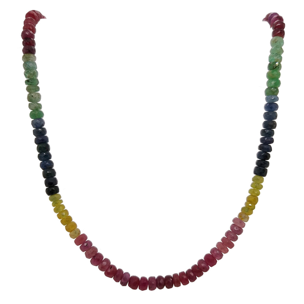 Ruby, Sapphire & Emerald Silver Yellow Gold Plated Necklace