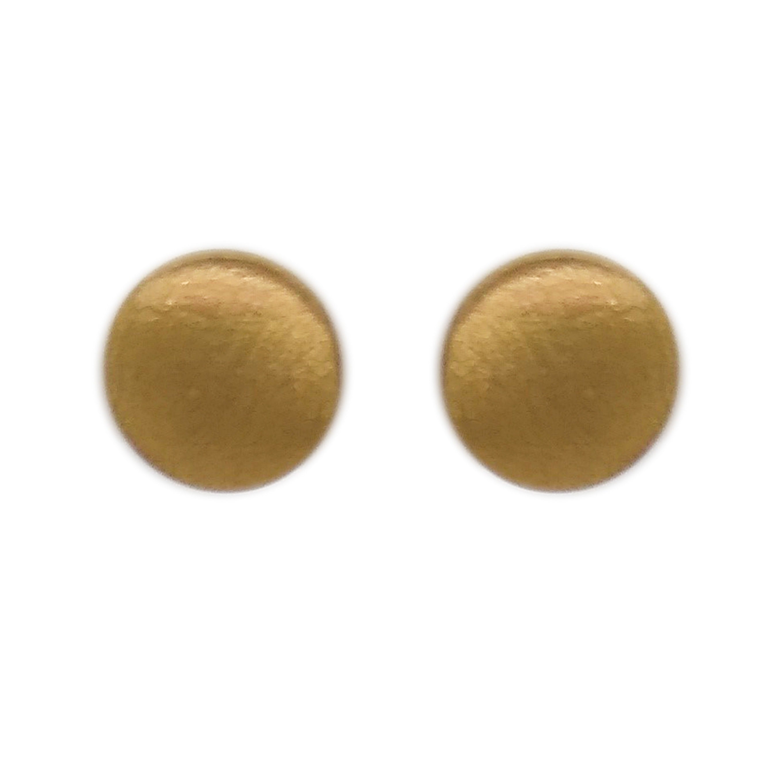 9ct Yellow Gold Satin Button Stud Earrings