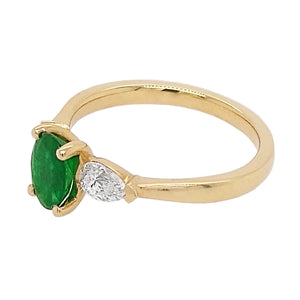 18ct Yellow Gold Emerald & Diamond Trilogy Ring