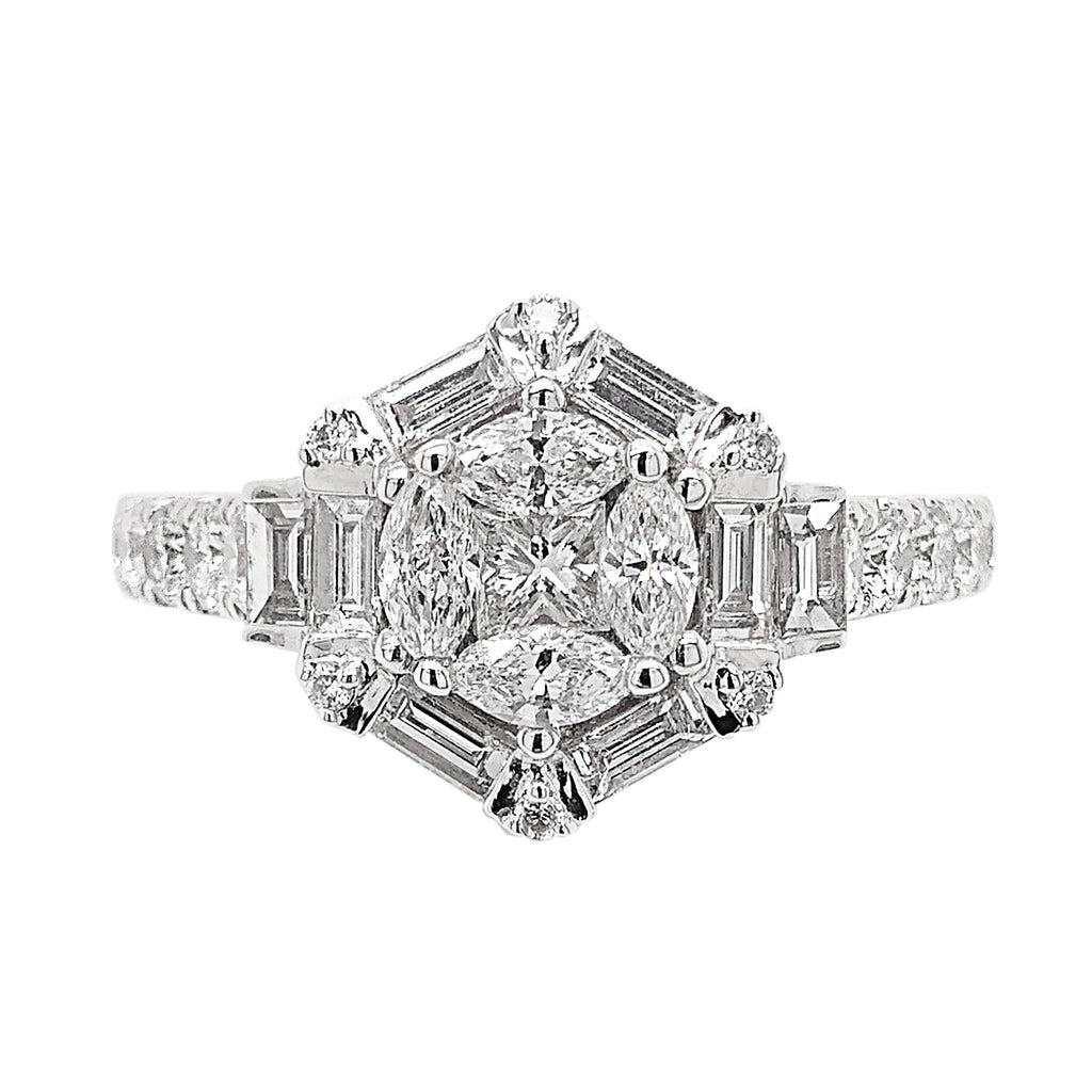 Platinum Multi Diamond Mimosa Dress Ring