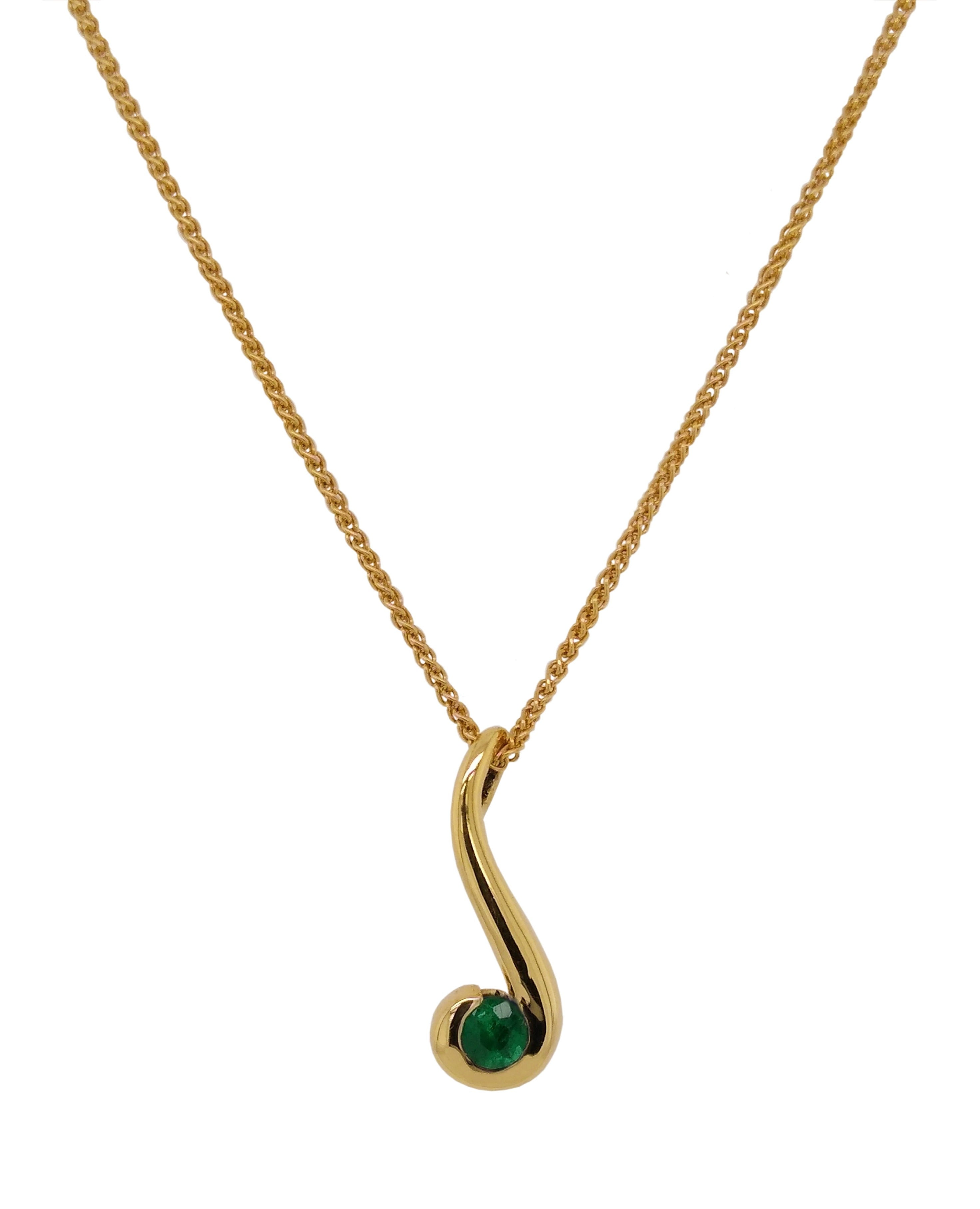 18ct Yellow Gold Colombian Emerald Curl Pendant & Chain