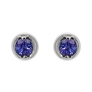 18ct White Gold Two Claw Tanzanite Rosabella Earrings