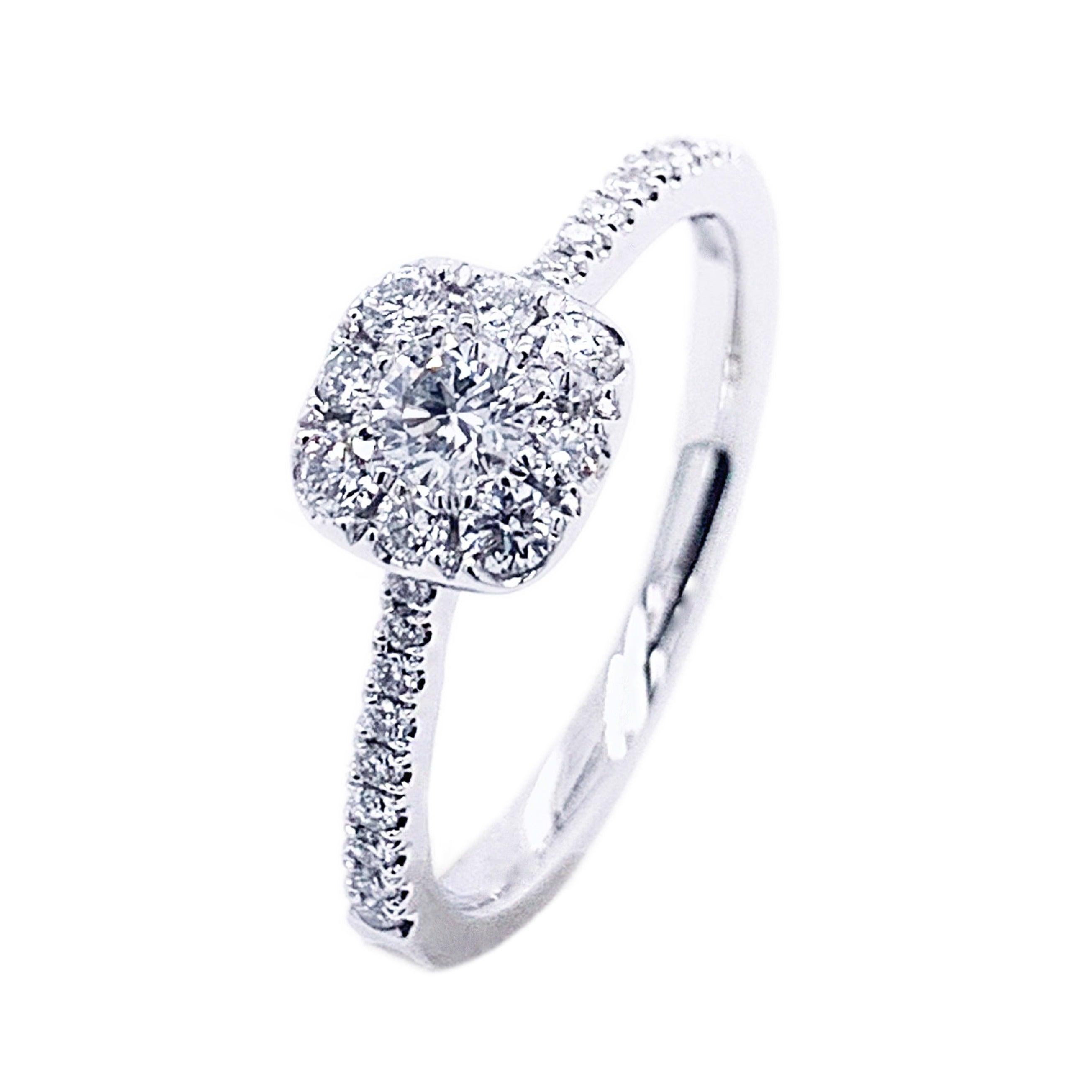Platinum Soft Square Multi Diamond Ring