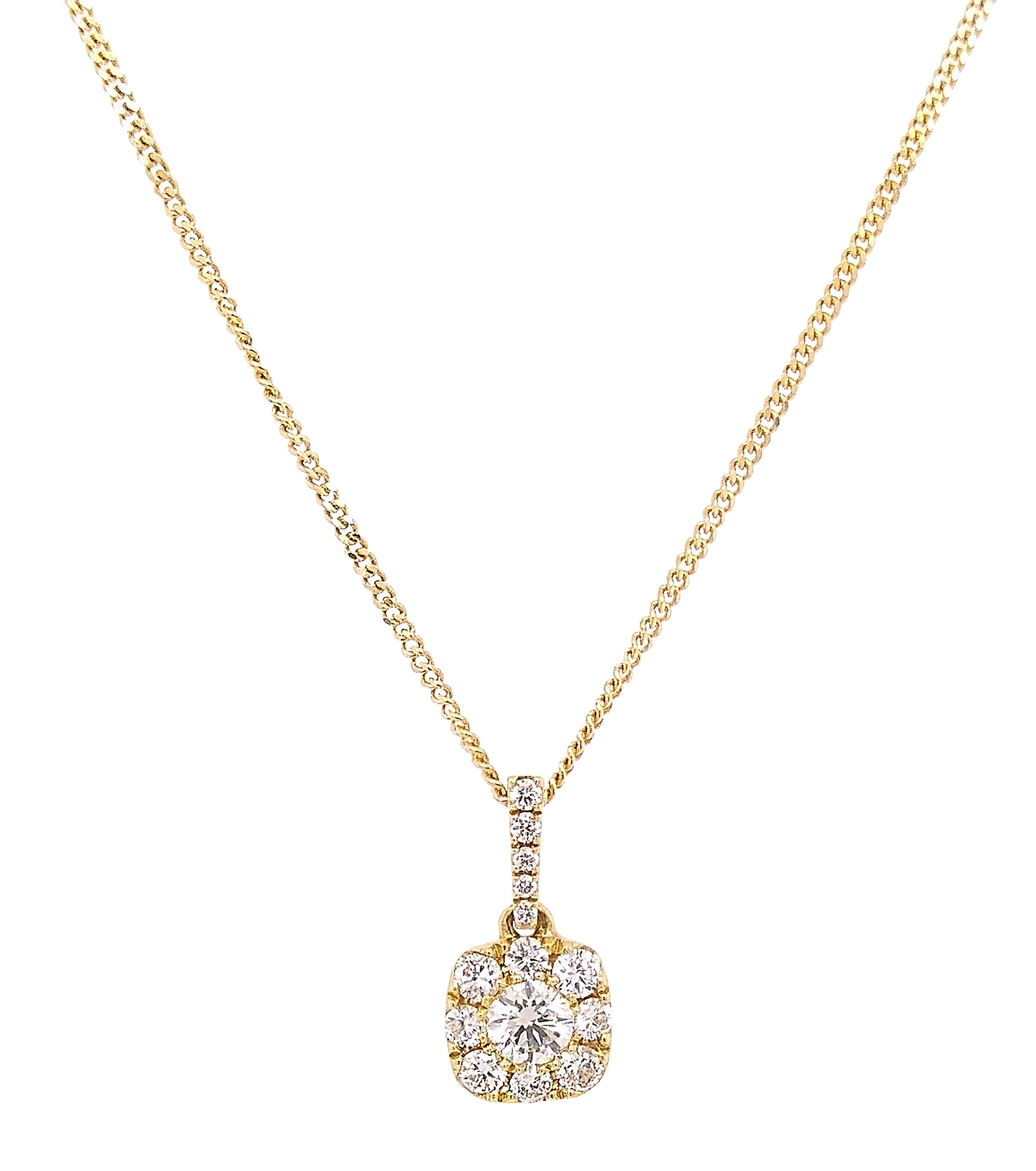 18ct Yellow Gold Pave Set Diamond Soft Square Pendant & Chain