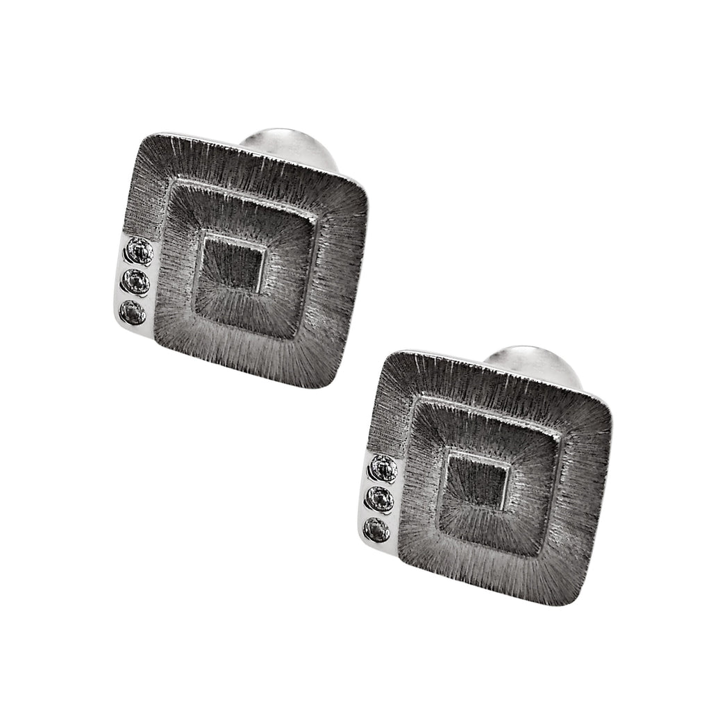 Silver Rhodium Plated Square Spiral CZ Cufflinks