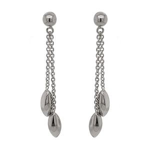 9ct White Gold Marquise Bead Drop Earrings