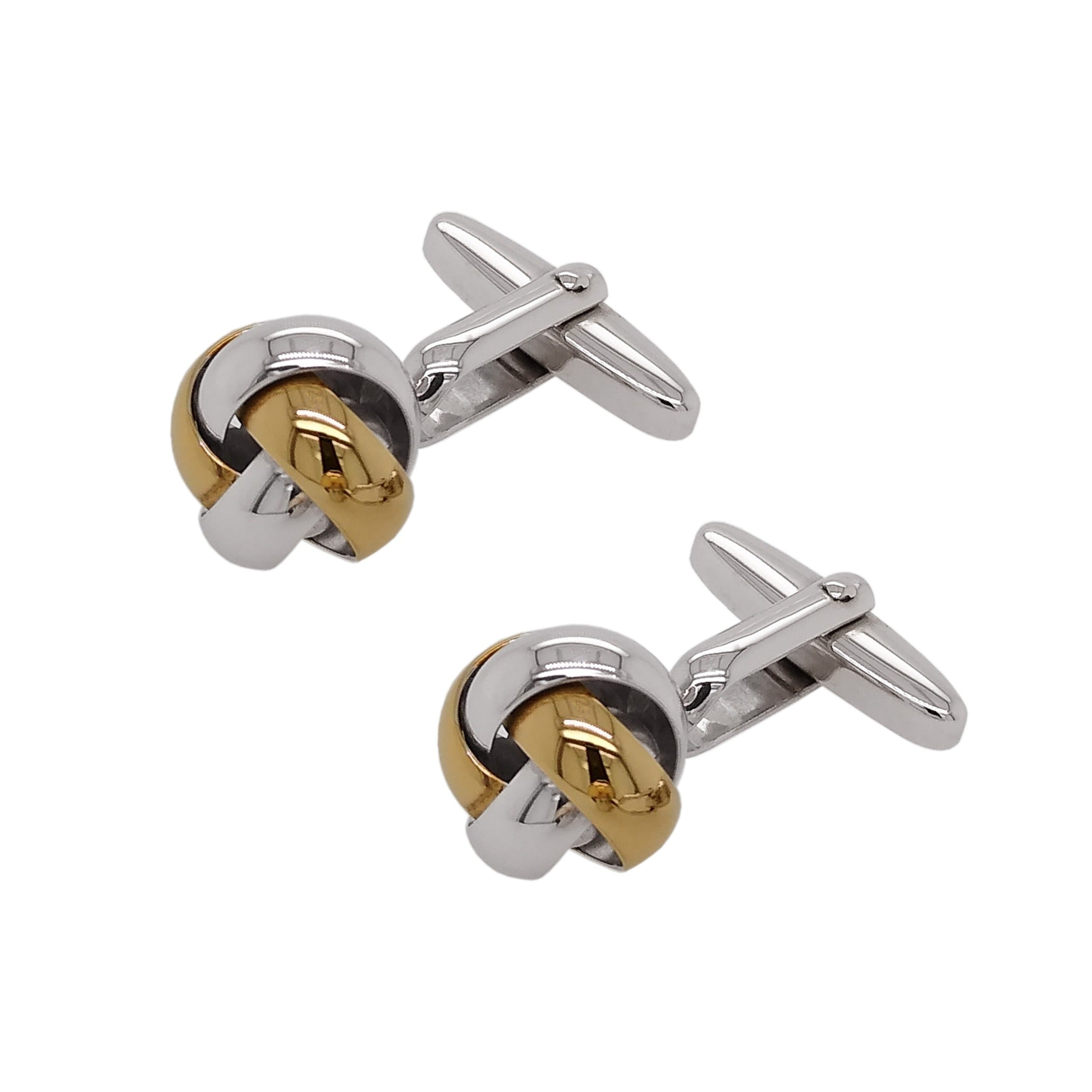Silver & Yellow Gold Plate Knot Cufflinks
