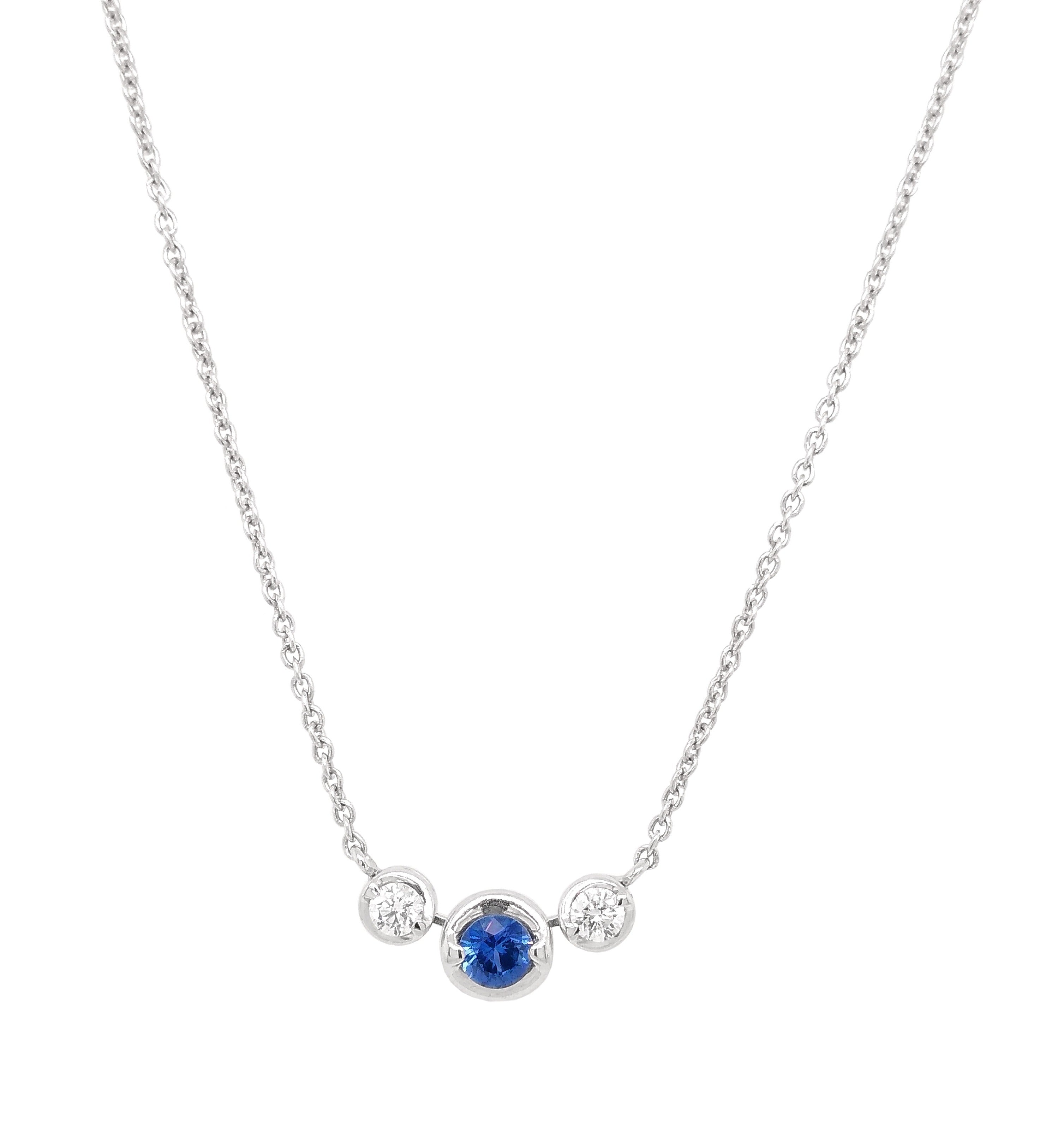 18ct White Gold Madagascan Sapphire & Diamond Necklace