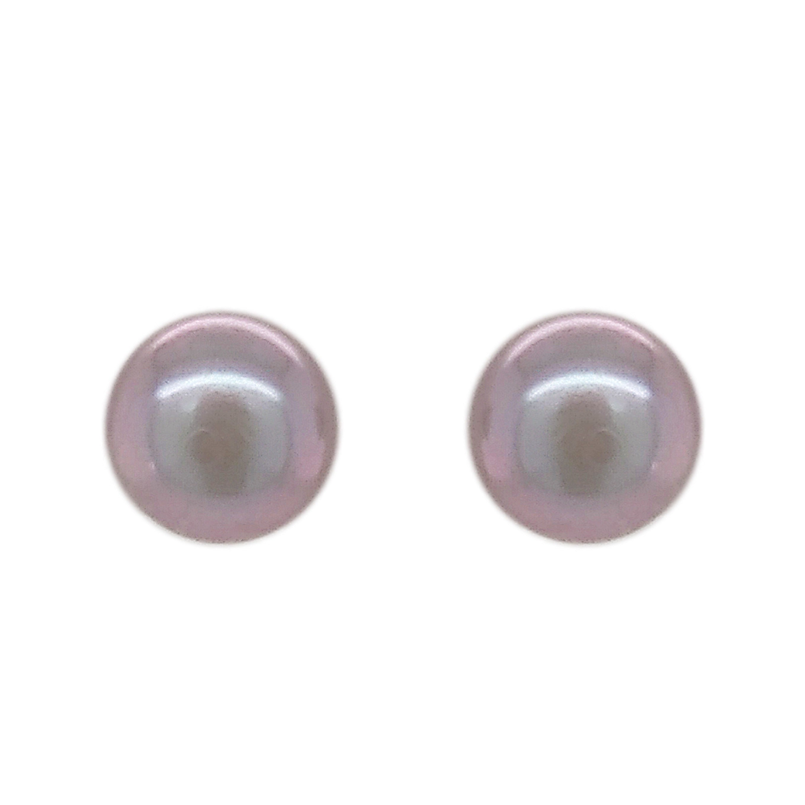 9ct White Gold Grey Freshwater 6.0mm Pearl Stud Earrings
