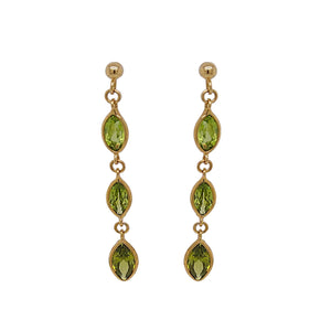 9ct Yellow Gold Marquise Peridot Drop Earrings