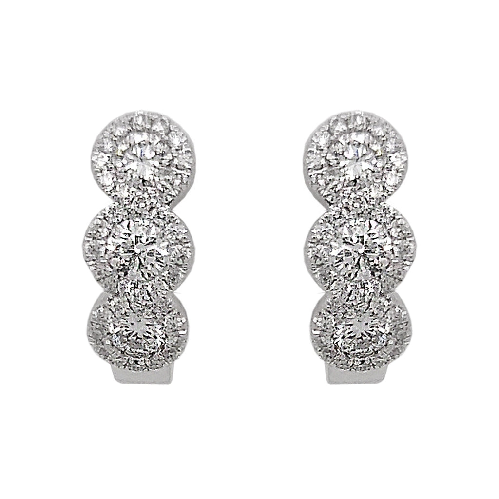 18ct White Gold Pave Diamond Hoop Earrings