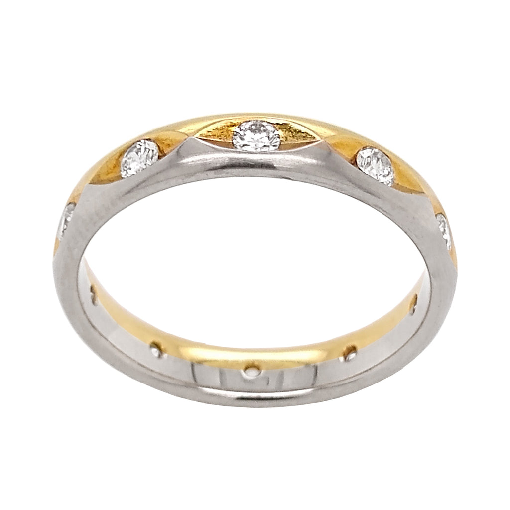 18ct Yellow & White Gold Diamond Marquise Cut Full Eternity Ring