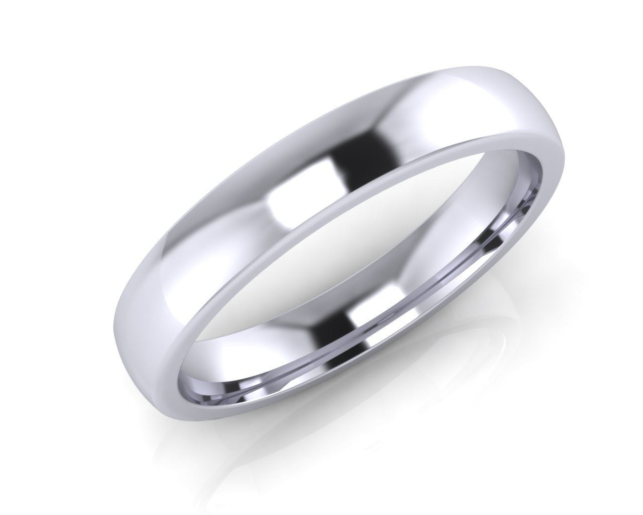 Platinum Midi-Ellipse Wedding Ring 4.0mm Size T - all ring sizes available